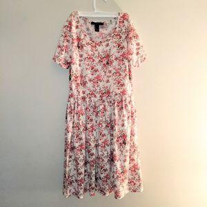 Forever 21 White Pink Rose Floral Skater Dress